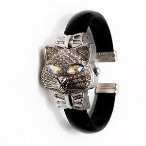 Awesome Gruen Rhinestone Crystal Cat Bangle Watch